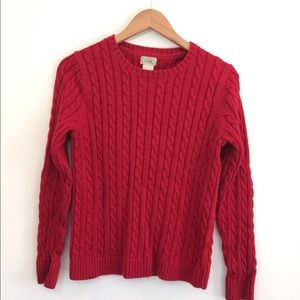 Red chunky cable knit sweater medium L.L. Bean